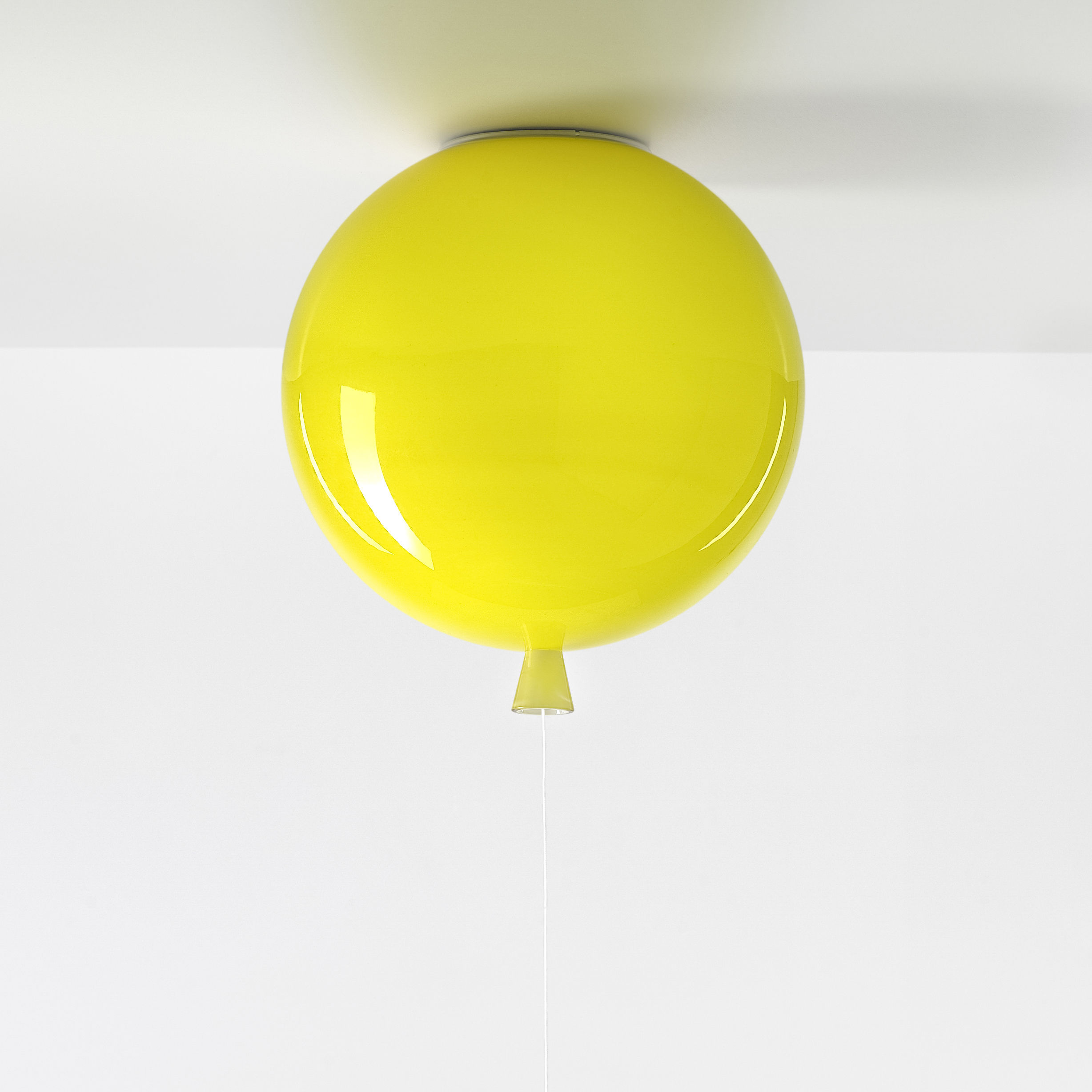 Decoration - Children's Home Accessories - Memory Medium Ceiling light - / Ø 30 cm - Glass by Brokis - Yellow - Mouth blown glass