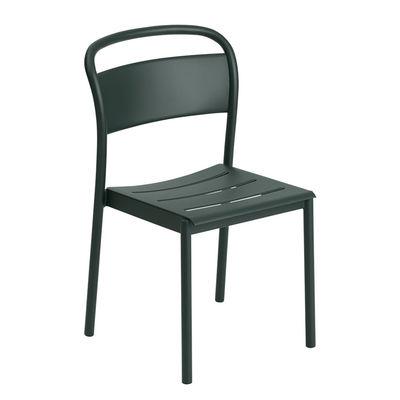 Mobilier - Chaises, fauteuils de salle à manger - Chaise empilable Linear / Acier - Muuto - Vert foncé - Acier