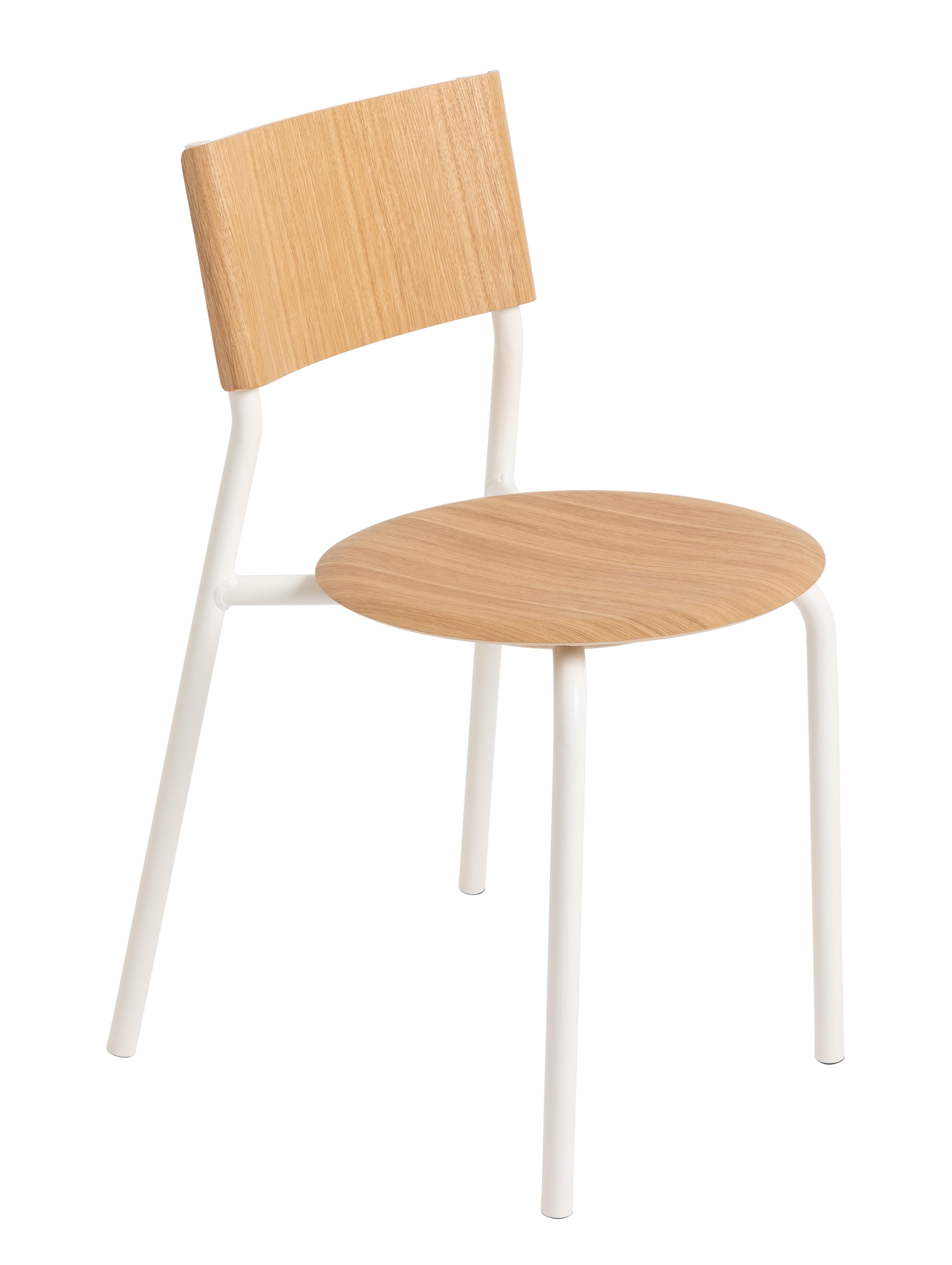 Mobilier - Chaises, fauteuils de salle à manger - Chaise empilable SSD / Chêne - TipToe - Chêne / Blanc Nuage - Acier thermolaqué, Chêne