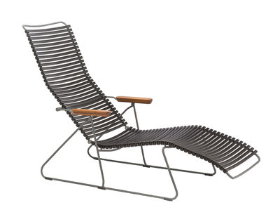 Chaise longue Click / Dossier multipositions - Houe noir,bambou en matière plastique