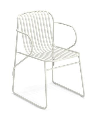 Mobilier - Chaises, fauteuils de salle à manger - Fauteuil empilable Riviera / Métal - Emu - Blanc - Acier verni