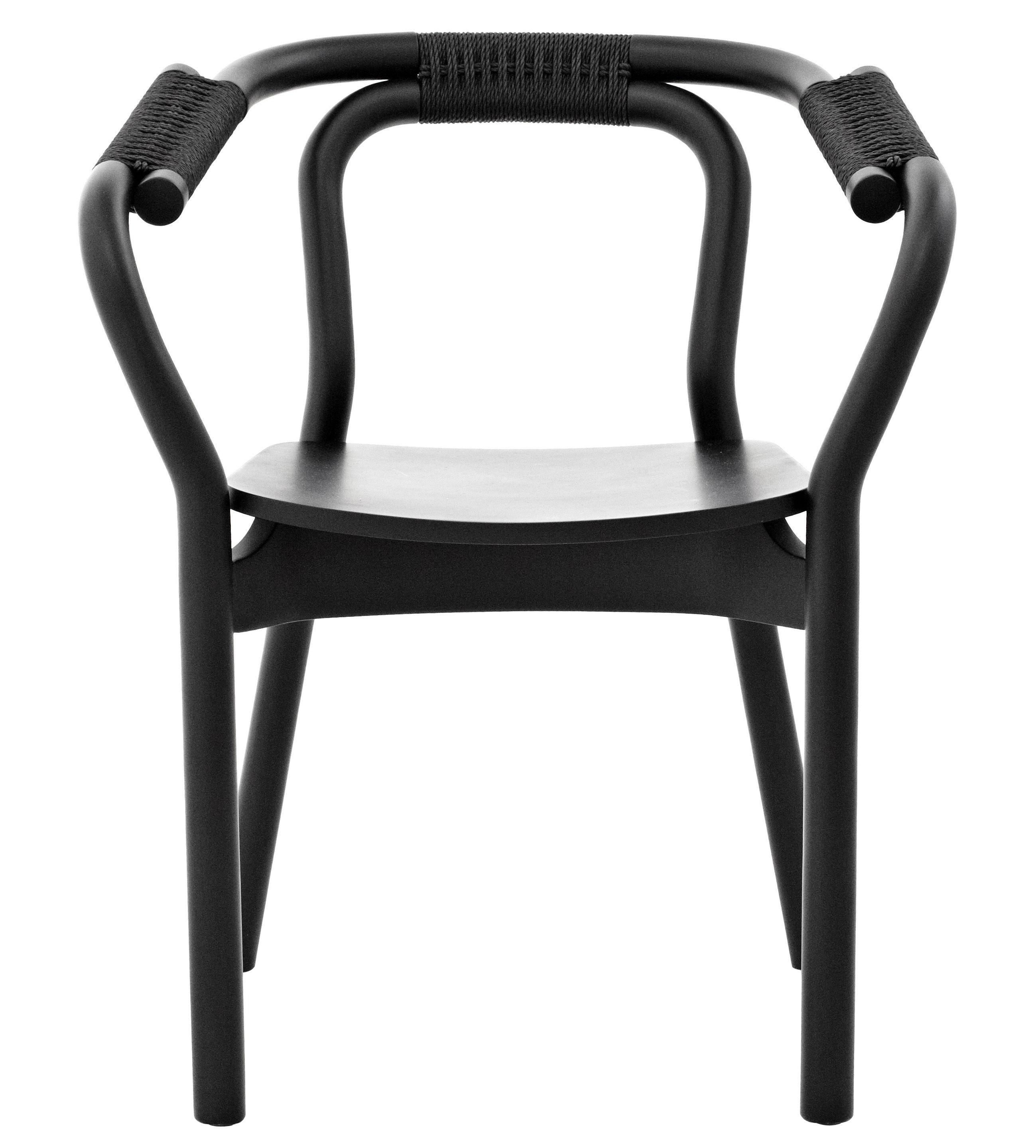 Mobilier - Chaises, fauteuils de salle à manger - Fauteuil Knot / Bois - Normann Copenhagen - Noir/Noir - Fibre végétale, Frêne