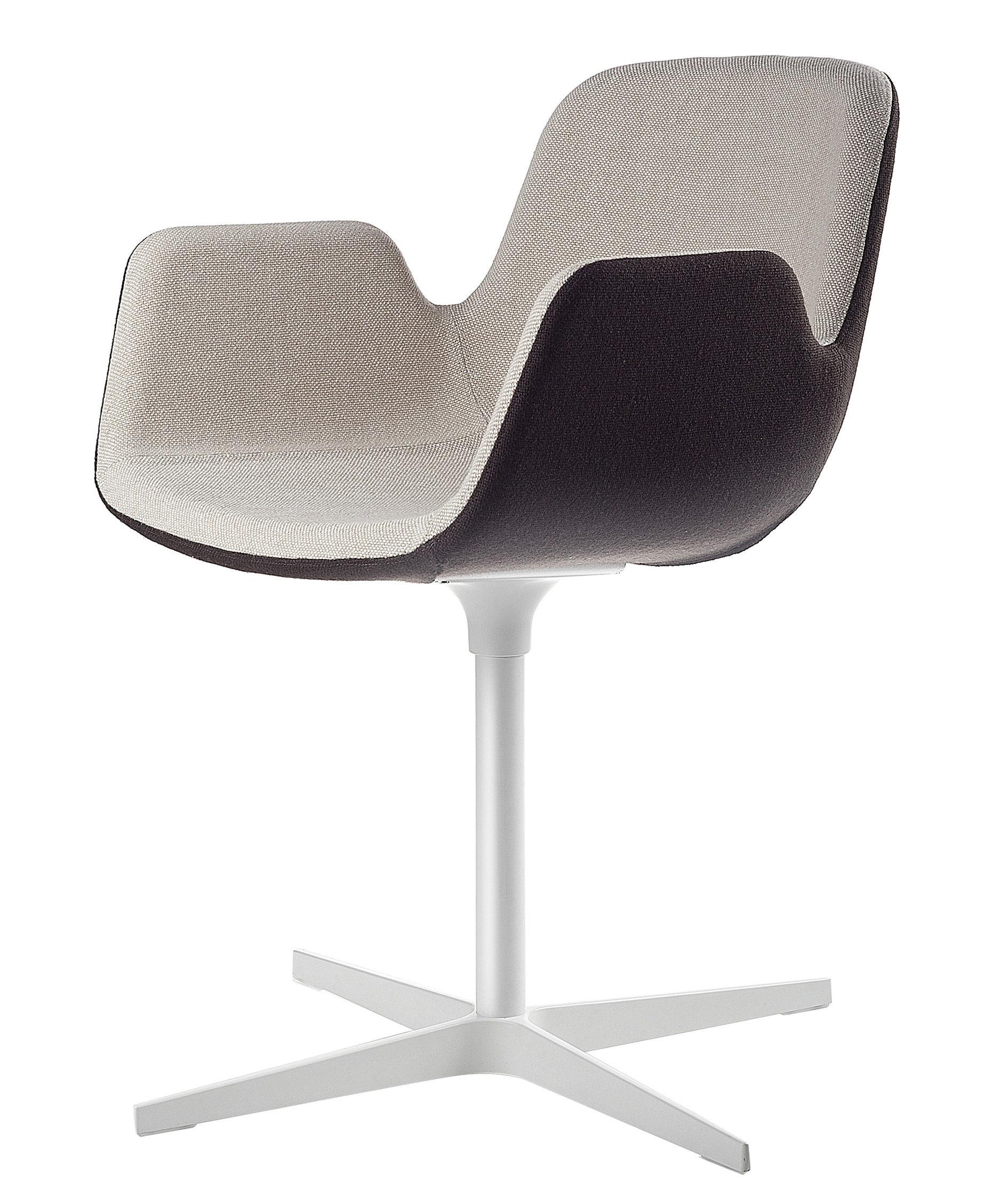 Mobilier - Chaises, fauteuils de salle à manger - Fauteuil pivotant Pass / Rembourré - Tissu - Lapalma - Assise : Int tissu beige / ext. tissu marron - Structure laquée - Aluminium laqué, Tissu