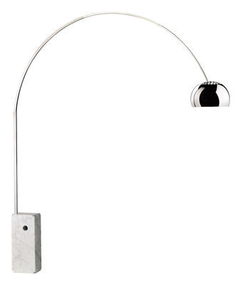 Lighting - Floor lamps - Arco (1962) Floor lamp - H 240 cm - LED by Flos -  - Polished aluminium, Stainless steel, White Carrara marble