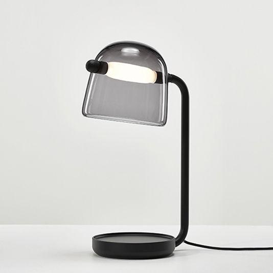 Illuminazione - Lampade da tavolo - Lampada da tavolo Mona - / Vetro di Brokis - Vetro grigio / Piede nero - metallo laccato, Rovere tinto, Vetro soffiato a bocca