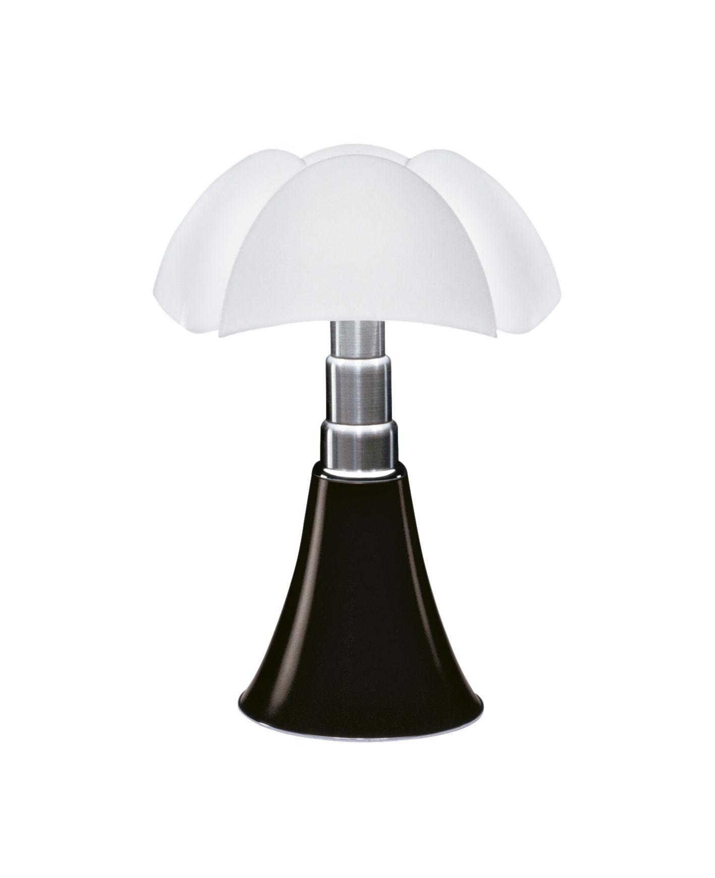 Luminaire - Lampes de table - Lampe de table Minipipistrello LED / H 35 cm - Martinelli Luce - Marron foncé / Abat-jour blanc - Acier galvanisé, Aluminium laqué, Méthacrylate opalin