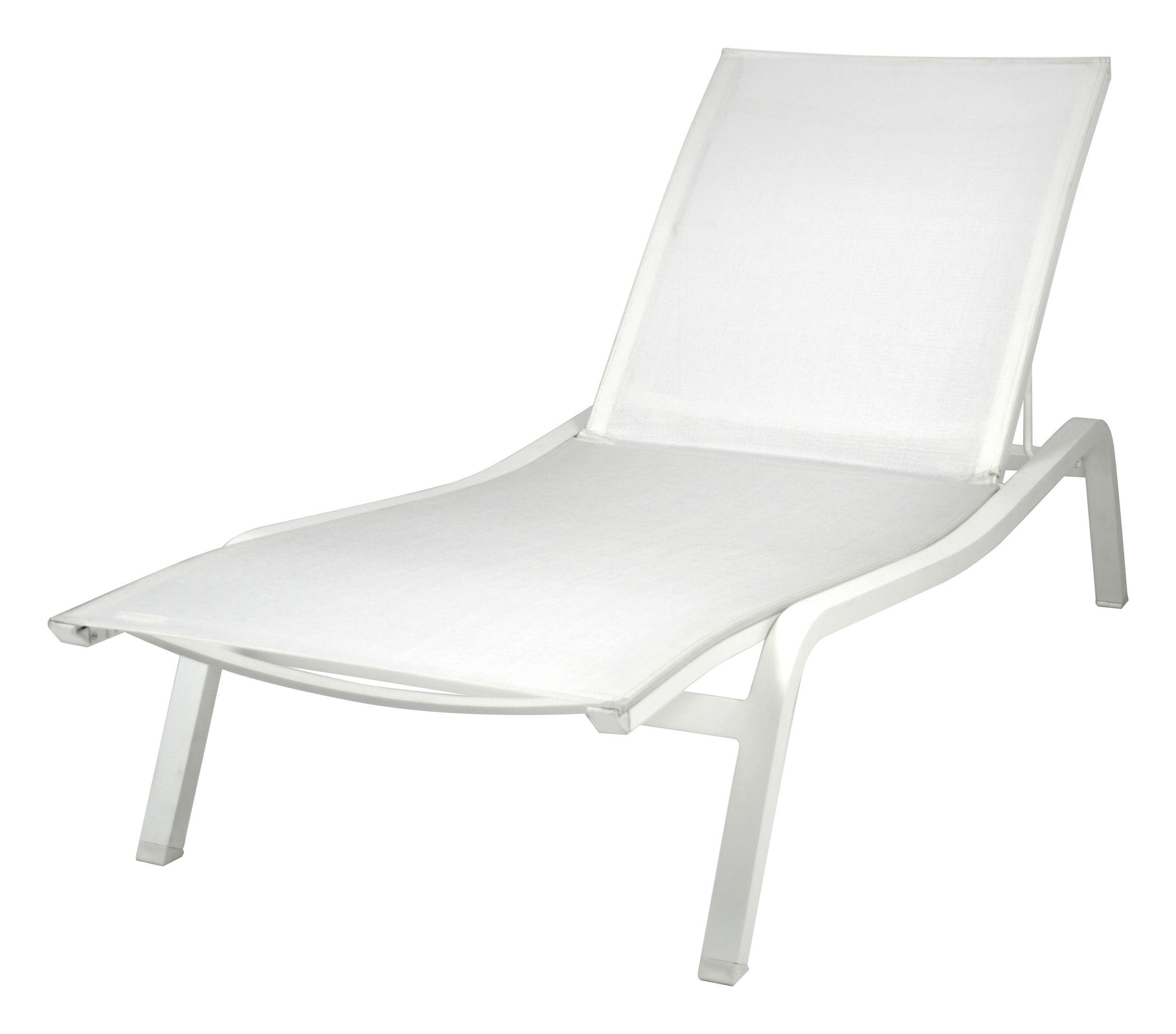 Outdoor - Sedie e Amache - Lettino da sole Alizé XS - larg 72 cm / 3 posizioni di Fermob - Bianco cotone - Larg 72 cm - Alluminio laccato, Tela poliestere