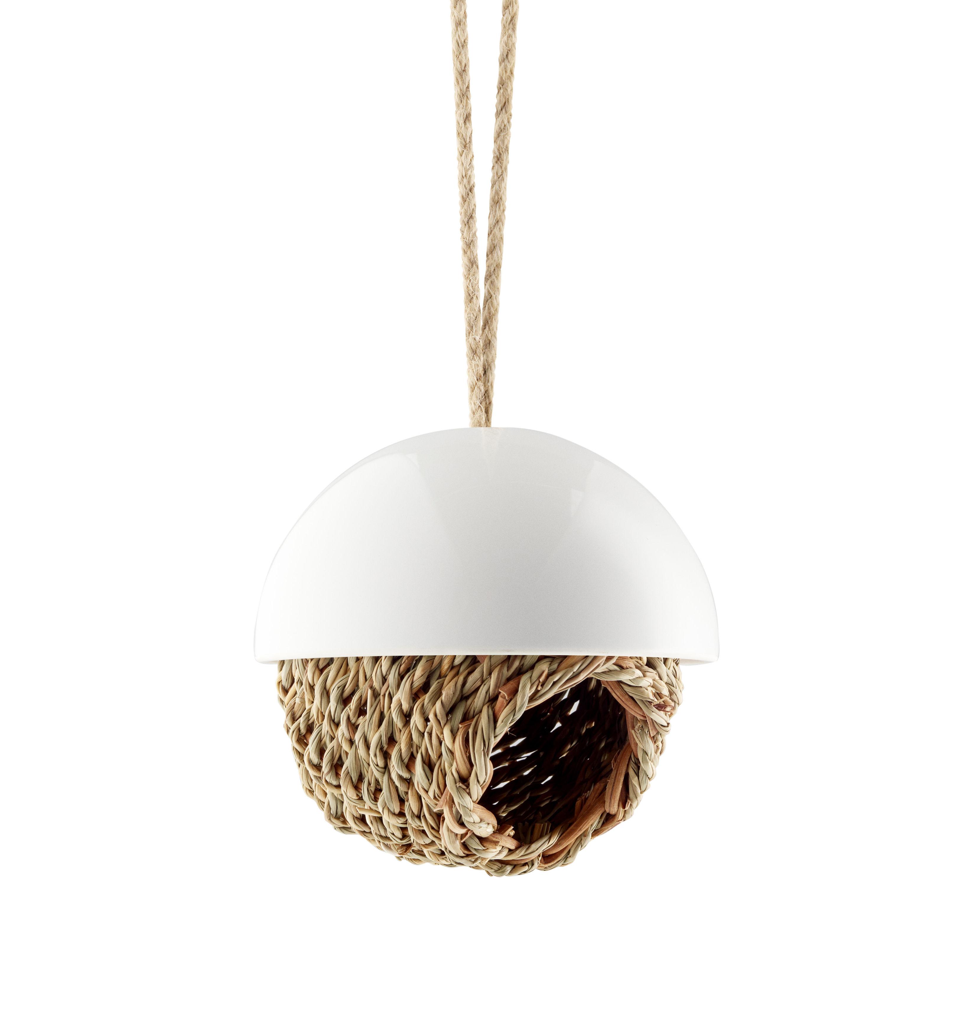 Outdoor - Déco et accessoires - Mangeoire à oiseaux / Ø 13 cm - Eva Solo - Blanc & marron - Paille, Porcelaine