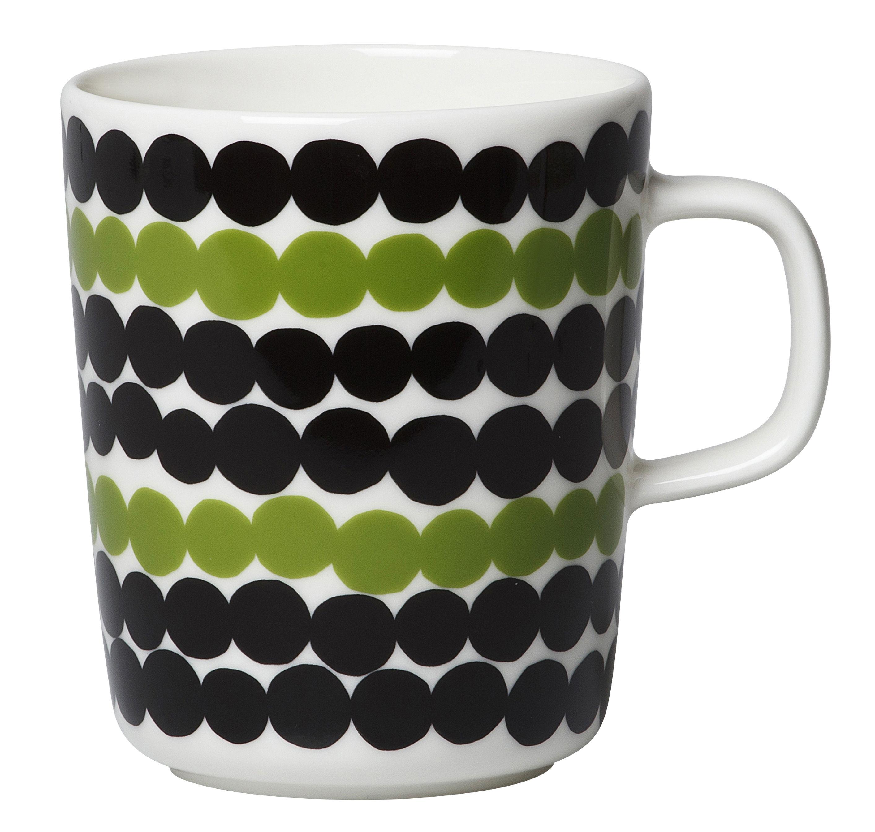 Arts de la table - Tasses et mugs - Mug Oiva Siirtolapuutarha / 25 cl - Marimekko - Räsymatto / Noir, blanc & vert - Grès