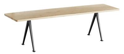 Arredamento - Panchine - Panchina Pyramid 12 - / L 190 cm - Riedizione 1959 di Hay - L 200 cm / Rovere chiaro & nero - Acciaio laccato, Rovere