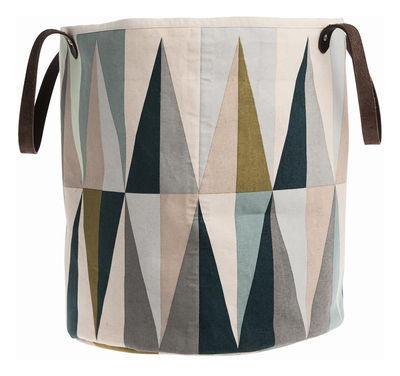 Déco - Salle de bains - Panier Spear Medium / Ø 35 x H 40 cm - Ferm Living - Spear / Multicolore - Coton, Cuir