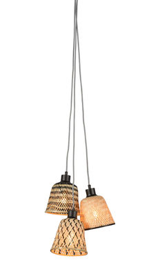 Lighting - Pendant Lighting - Kalimantan Pendant - / 3 lampshades by GOOD&MOJO - Black & natural - Bamboo