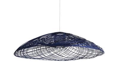 Lighting - Pendant Lighting - Satélise S Pendant - Rattan - Ø 45 cm by Forestier - Blue - Fabric, Rattan