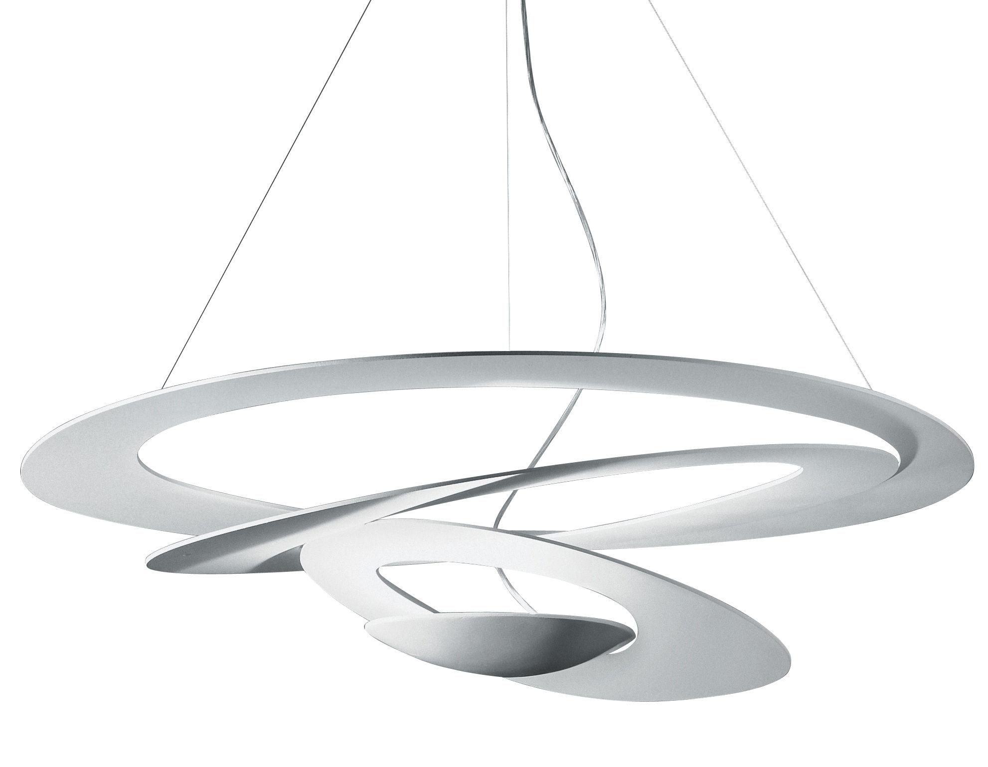 Leuchten - Pirce LED Pendelleuchte / Ø 97 cm - Artemide - Weiß - klarlackbeschichtetes Aluminium