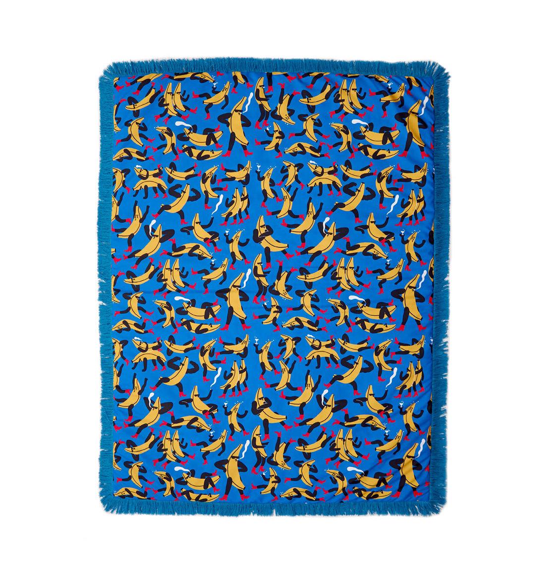 Déco - Textile - Plaid rembourré Tapame Mucho Large - Banana Guys / 180 x 140 cm - Sancal - Banana Guys / Bleu - Fausse fourrure, Fibre synthétique, Polyester