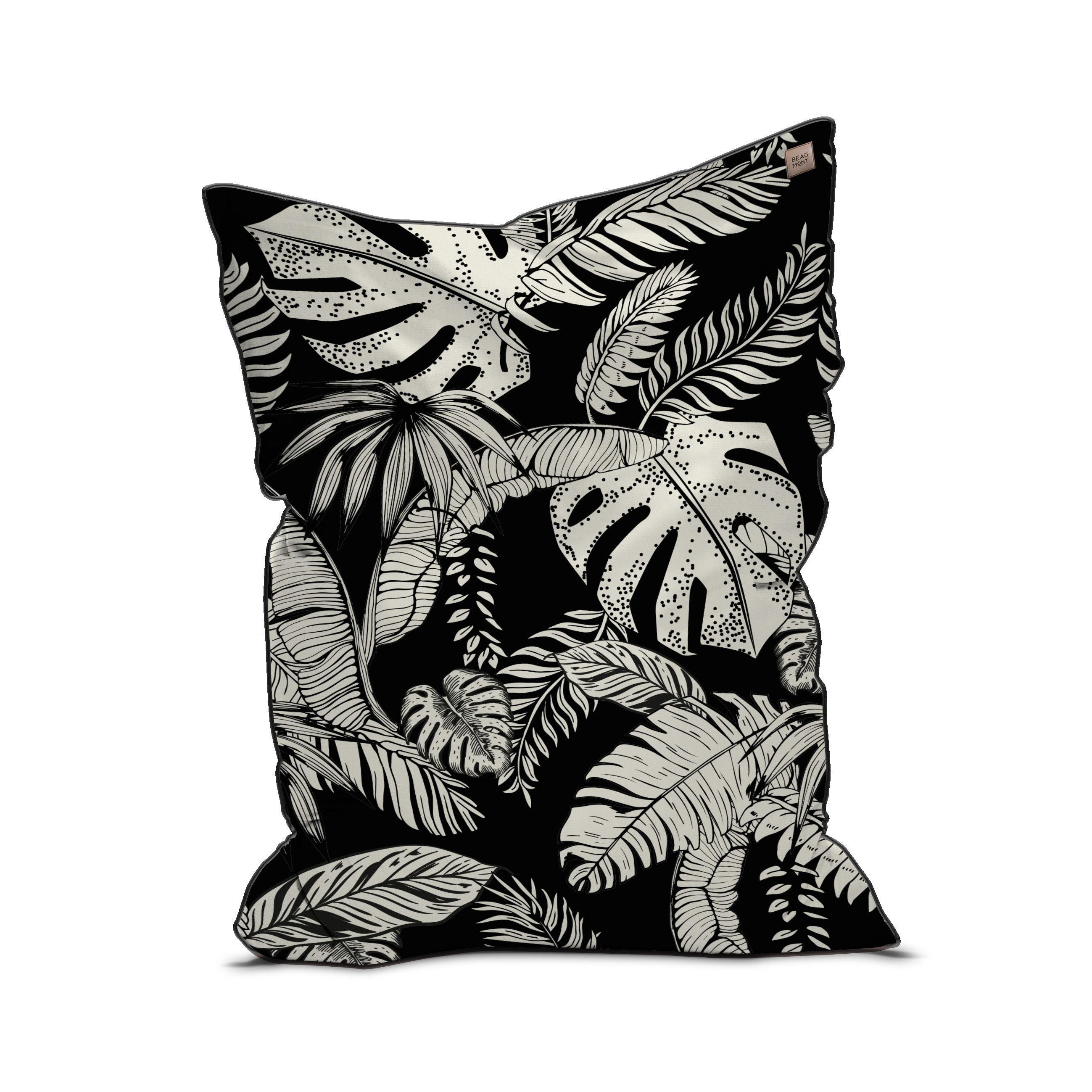 Furniture - Poufs & Floor Cushions - Botany Pouf - / Velvet - 115 x 145 cm by Beaumont - Black & White - EPS balls, Fabric, Velvet
