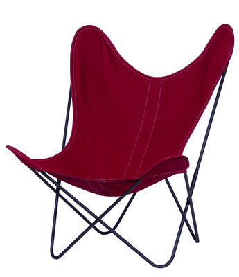Möbel - Lounge Sessel - AA Butterfly Sessel Stoffbezug / Gestell schwarz - AA-New Design - Gestell schwarz / Bezug Himbeere - lackierter Stahl, Leinen