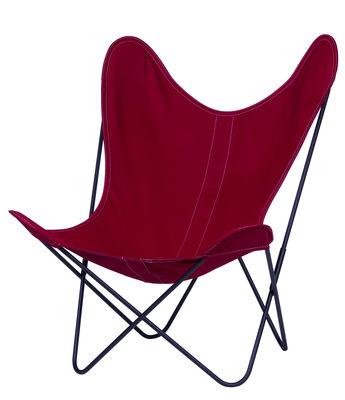 Möbel - Lounge Sessel - AA Butterfly OUTDOOR Sessel Stoffbezug / Gestell schwarz - AA-New Design - Gestell schwarz / Bezug Himbeere - Coton traité pour l'extérieur, thermolackierter Stahl