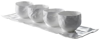 Set vaisselle Adelaïde XIII / 1 plat + 4 bols - Driade Kosmo blanc en céramique