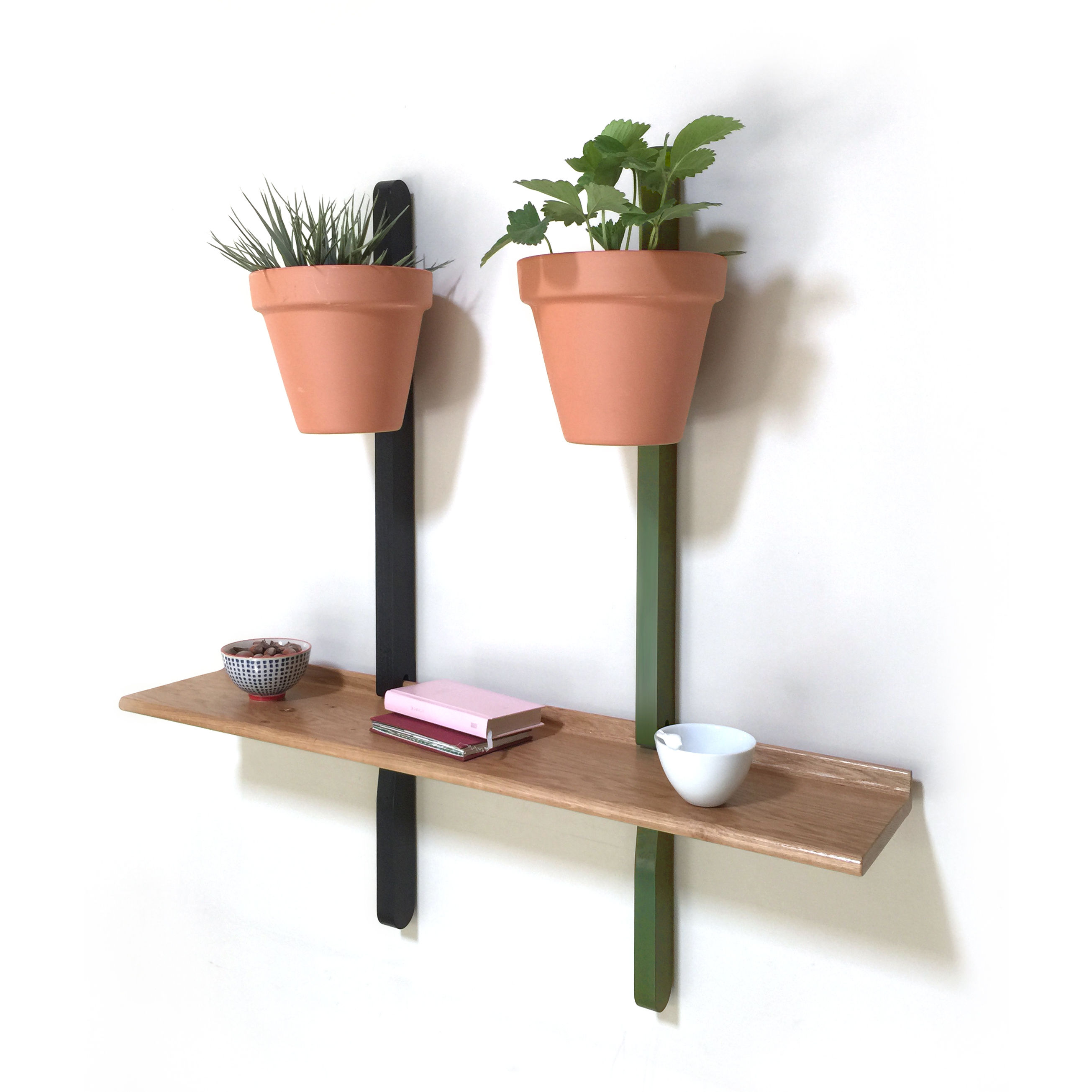 Furniture - Bookcases & Bookshelves - XPOT Shelf - / 1 right shelf, L 100 cm + 2 supports H 100 cm by Compagnie - Oak / Fixations: black & green - Varnished solid oak