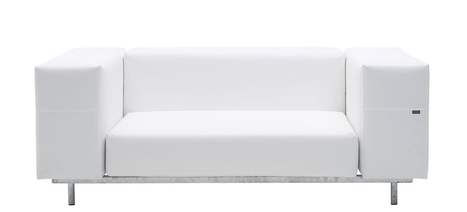 Outdoor - Sofas und Lounge Sessel - Walrus Sofa / L 170 cm - Extremis - Weiß - galvanisierter Stahl, Leinen Tarpaulin, Polyurethan-Schaum