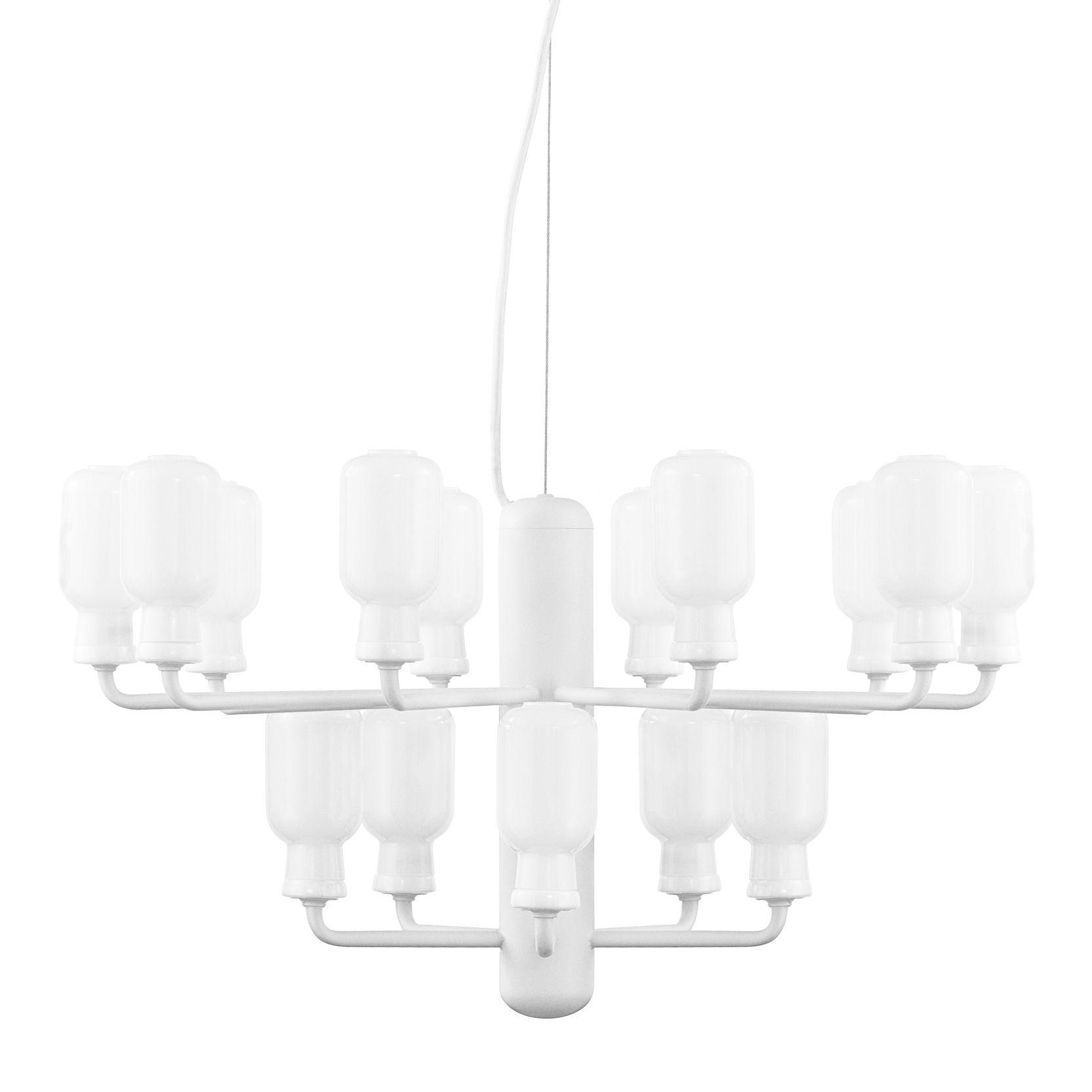Illuminazione - Lampadari - Sospensione Amp Chandelier Small - / Ø 62 cm - Marmo & vetro di Normann Copenhagen - Bianco / Vetro trasparente - Acciaio laccato, Marmo, Vetro