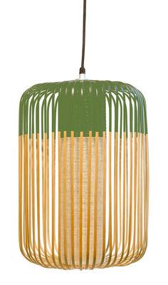 Illuminazione - Lampadari - Sospensione Bamboo Light L Outdoor - / H 50 x Ø 35 cm di Forestier - Verde / Naturale - Bambù naturale, Gomma