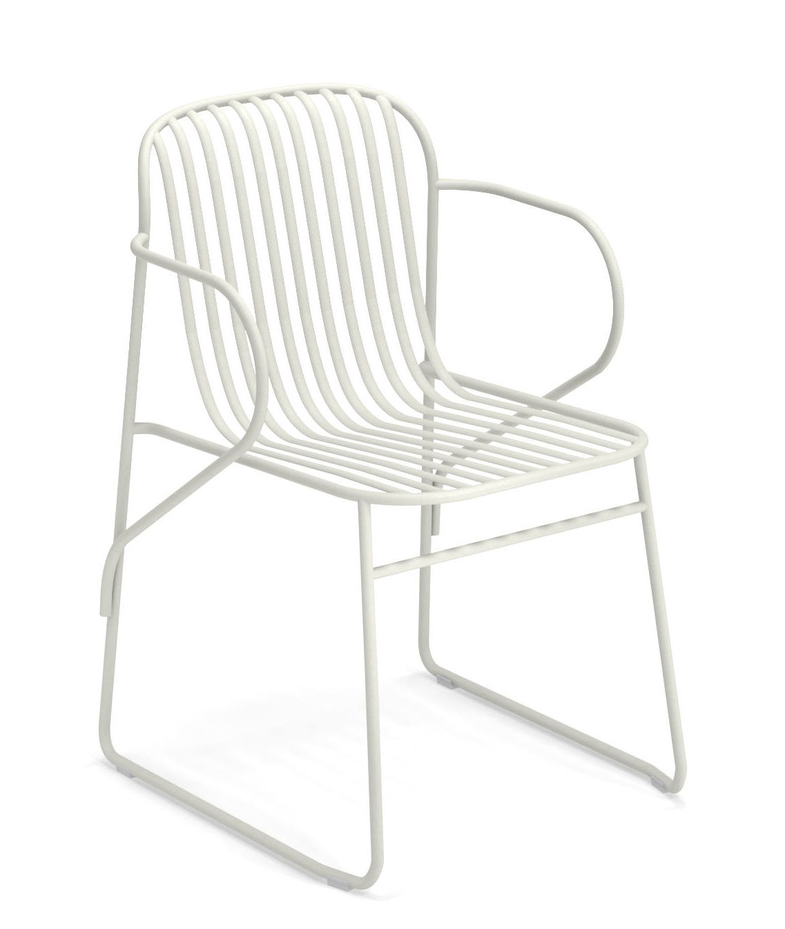 Möbel - Stühle  - Riviera Stapelbarer Sessel / Metall - Emu - Weiß - gefirnister Stahl