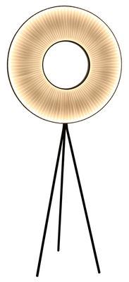Iris Stehleuchte LED / H 180 cm - weißer Stoff & beidseitige Beleuchtung - Dix Heures Dix - Weiß,Schwarz