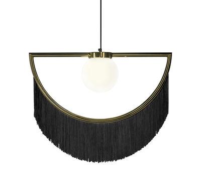 Luminaire - Suspensions - Suspension Wink / Franges - L 60 x H 48 cm - Houtique - Noir / Or - Acier, Acrylique, Verre opalin