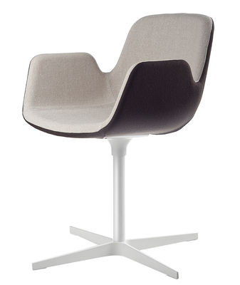 Furniture - Chairs - Pass Swivel armchair - Padded / fabric by Lapalma - Seat : In. fabric beige / Out. fabric brown - White lacquered fr - Fabric, Lacquered aluminium