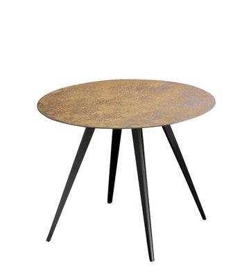 Table basse Lara / Acier effet rouille - Ø 60 cm - Zeus jaune/marron en métal