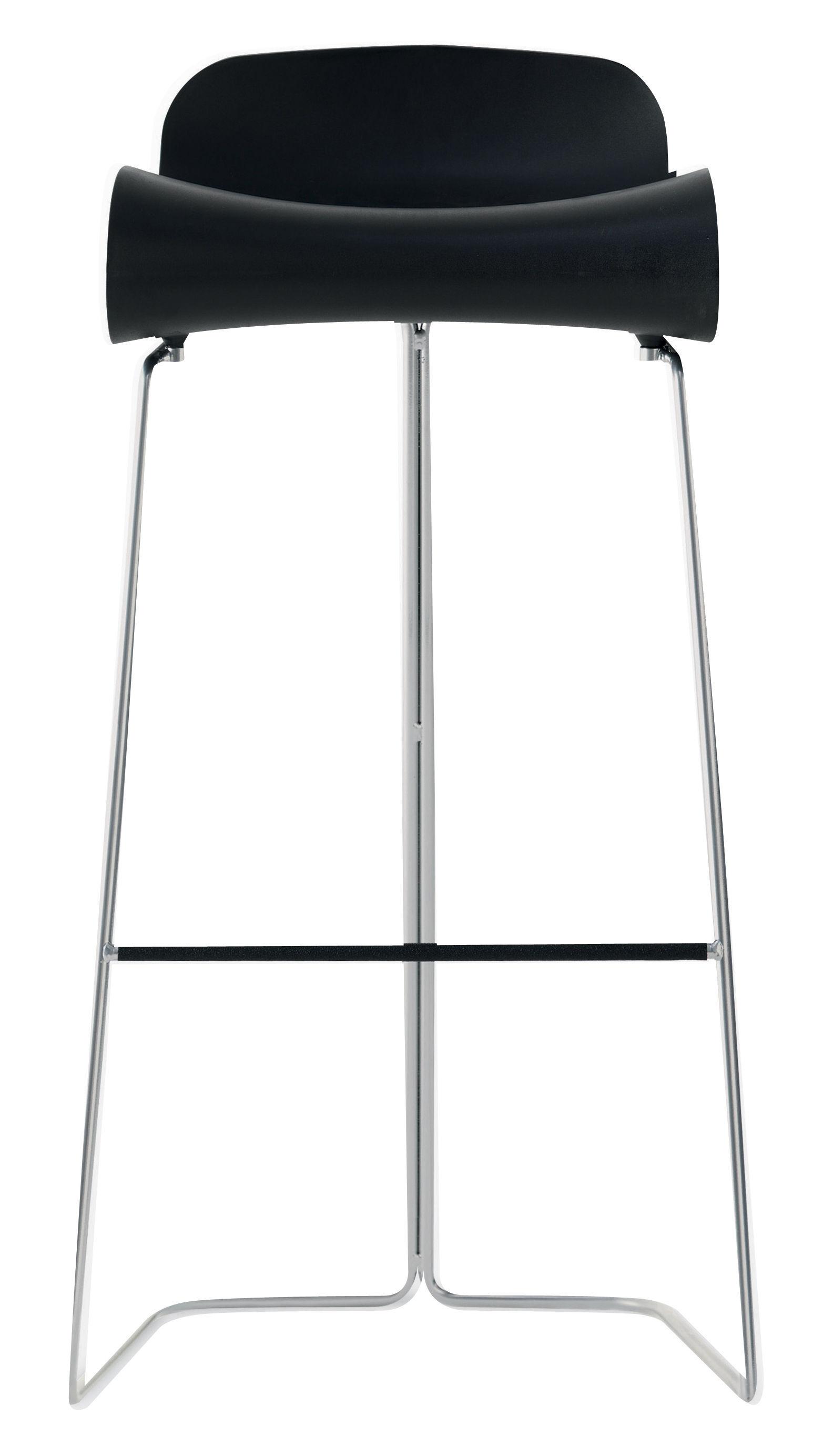 Mobilier - Tabourets de bar - Tabouret de bar BCN / H 76 cm - Kristalia - Noir / Pied chromé - Acier verni, Plastique PBT