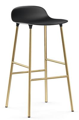 Tabouret de bar Form / H 75 cm - Pied laiton - Normann Copenhagen noir,laiton en métal