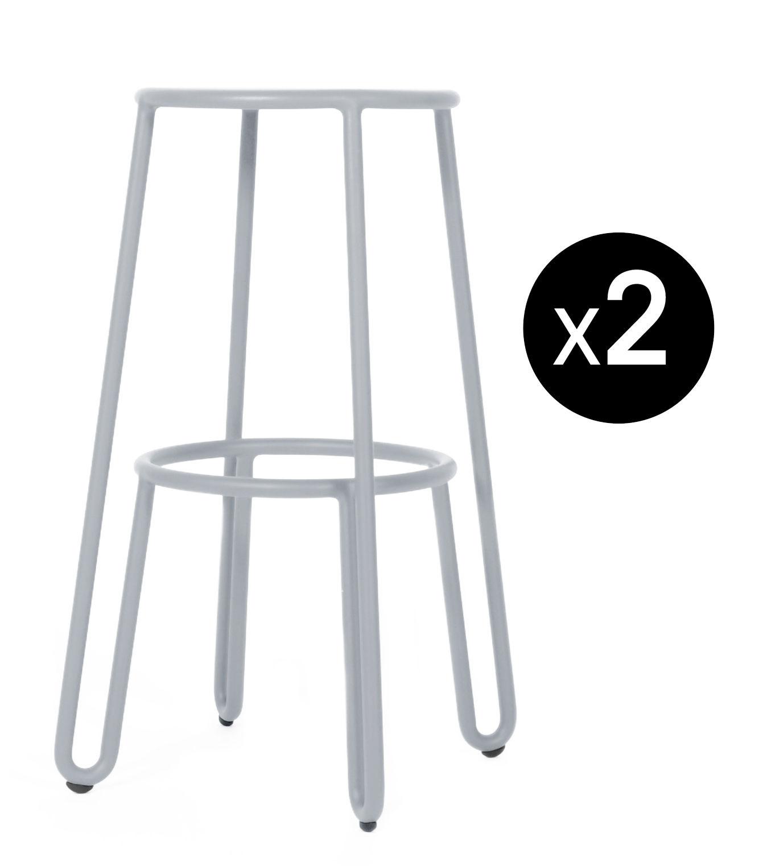 Mobilier - Tabourets de bar - Tabouret de bar Huggy / H 75 cm - Lot de 2 - Maiori - Gris frosty - Aluminium laqué époxy