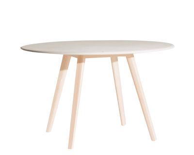 Arredamento - Tavoli - Tavolo rotondo Meridiana - / Ø 100 cm di Driade - Beige / Frassino naturale - Frassino massello naturale, Pannello truciolare rivestito in argilla