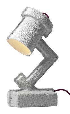 Leuchten - Tischleuchten - Trash Me Tischleuchte - &tradition - Hellgrau / rotes Stromkabel - Aluminium, Papier recyclé, Textil