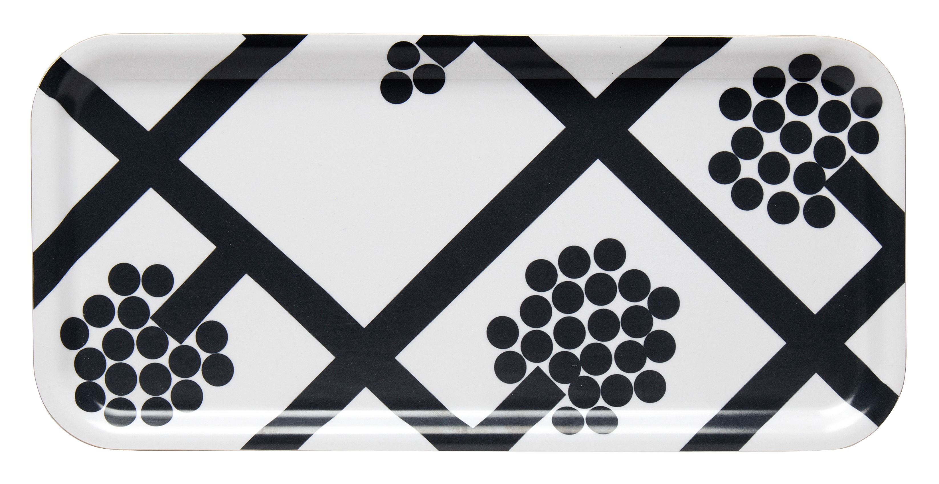 Tableware - Trays - Spaljé Tray - 15 x 32 cm by Marimekko - Spaljé / Black & White - Laminated birch