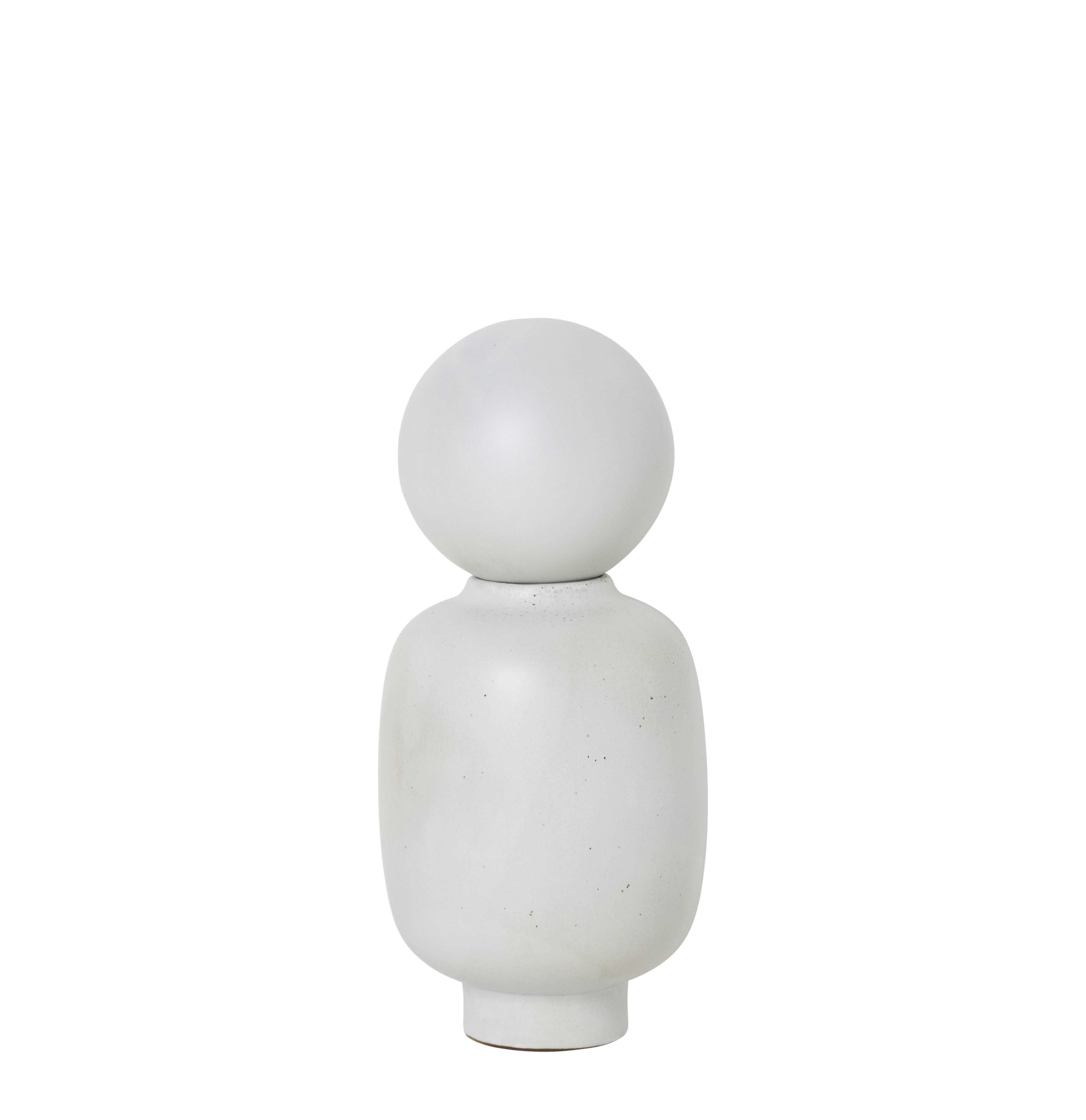 Decoration - Vases - Muses - Talia Vase - / Ø 13 x H 28 cm by Ferm Living - Talia / White - Enamelled sandstone