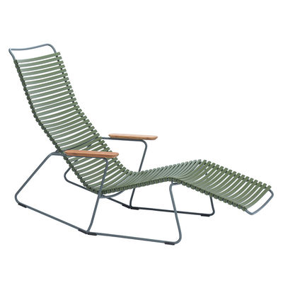 Jardin - Bains de soleil, chaises longues et hamacs - Bain de soleil Click / Dossier multipositions - Houe - Vert Olive - Bambou, Matière plastique, Métal