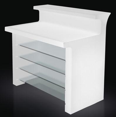 Möbel - Stehtische und Bars - Break Line beleuchtete Bar / L 120 cm - Slide - Weiß - recycelbares Polyethen