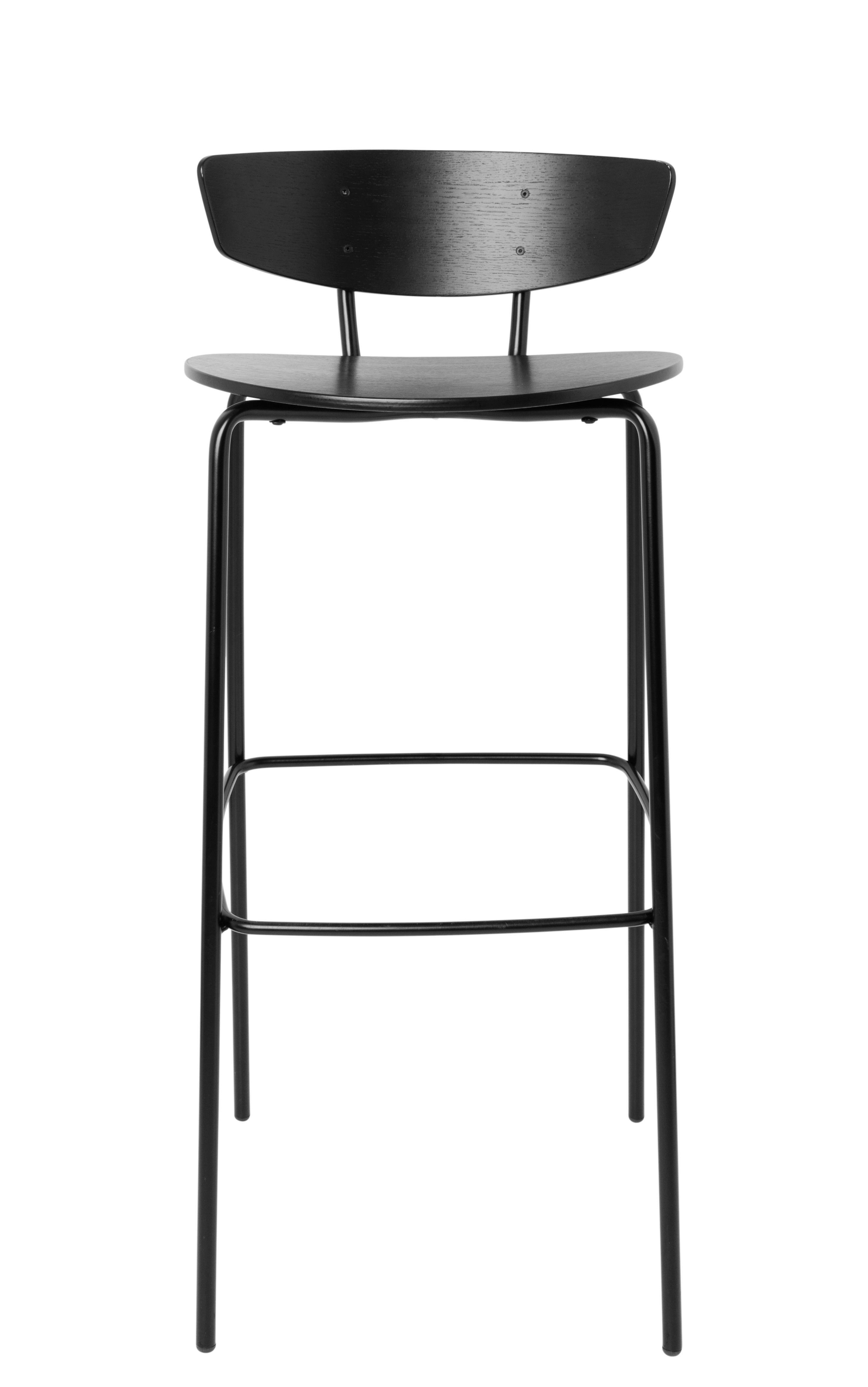 Mobilier - Tabourets de bar - Chaise de bar Herman / High - H 76 cm - Ferm Living - Large H 76 cm / Noir - Acier laqué époxy, Contreplaqué de chêne laqué