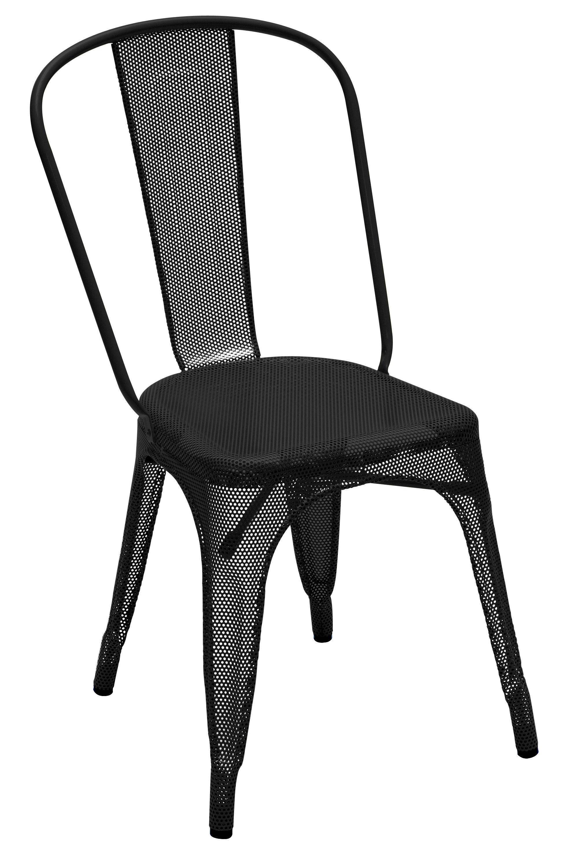 Mobilier - Chaises, fauteuils de salle à manger - Chaise empilable A perforée / Acier inox - Intérieur/extérieur - Tolix - Noir (brillant) - Acier inoxydable laqué époxy