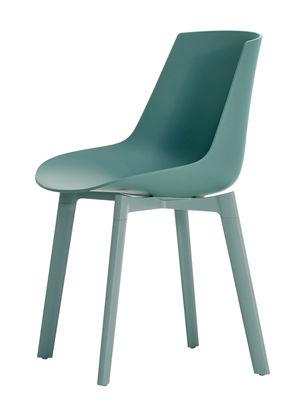 Mobilier - Chaises, fauteuils de salle à manger - Chaise Flow Color / 4 pieds Cross chêne - MDF Italia - Bleu aviateur - Aluminium époxy, Chêne laqué, Polycarbonate