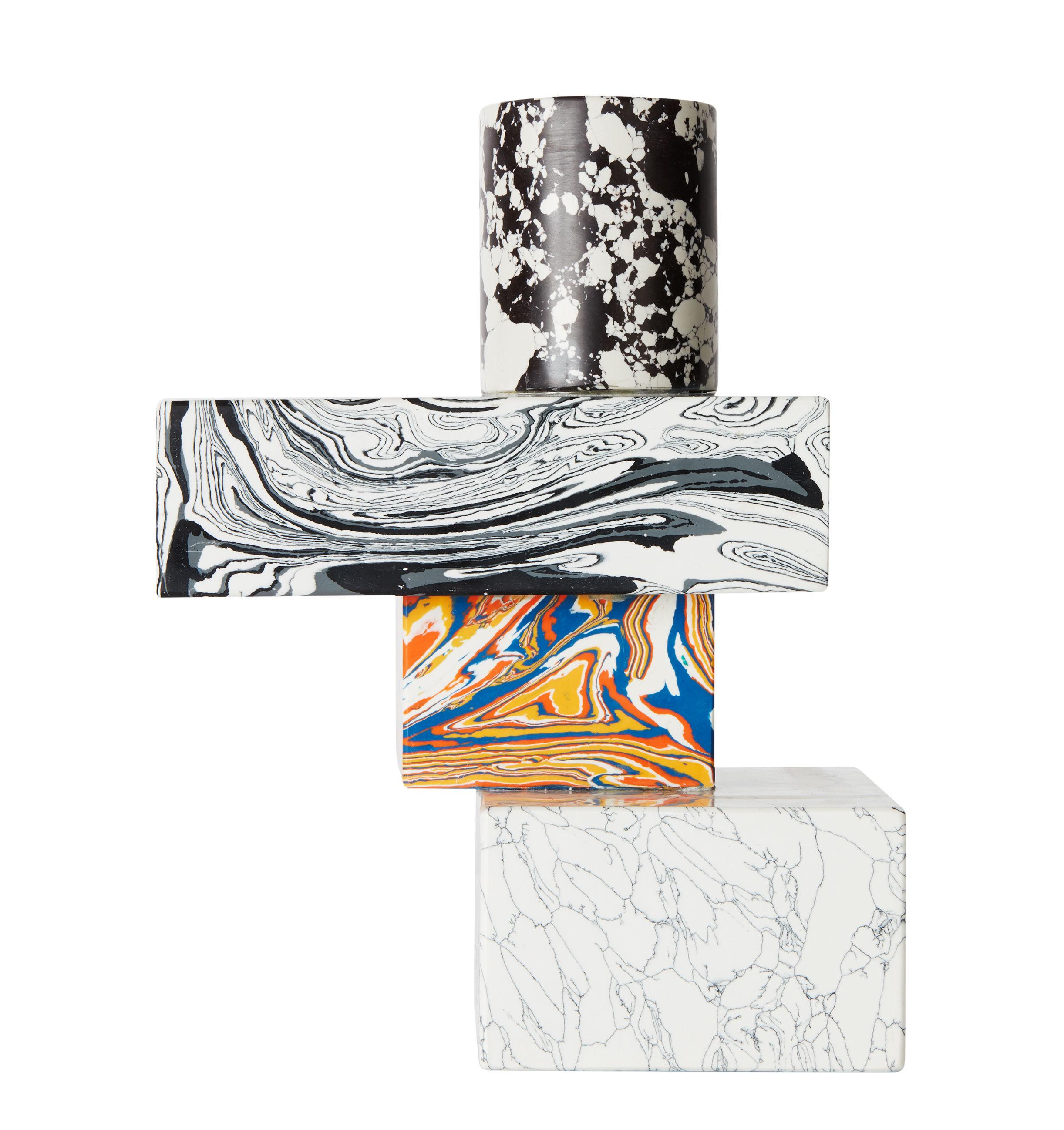Déco - Bougeoirs, photophores - Chandelier Swirl Multi / Effet marbre - Tom Dixon - Multicolore - Pigments, Poudre de marbre recyclée, Résine
