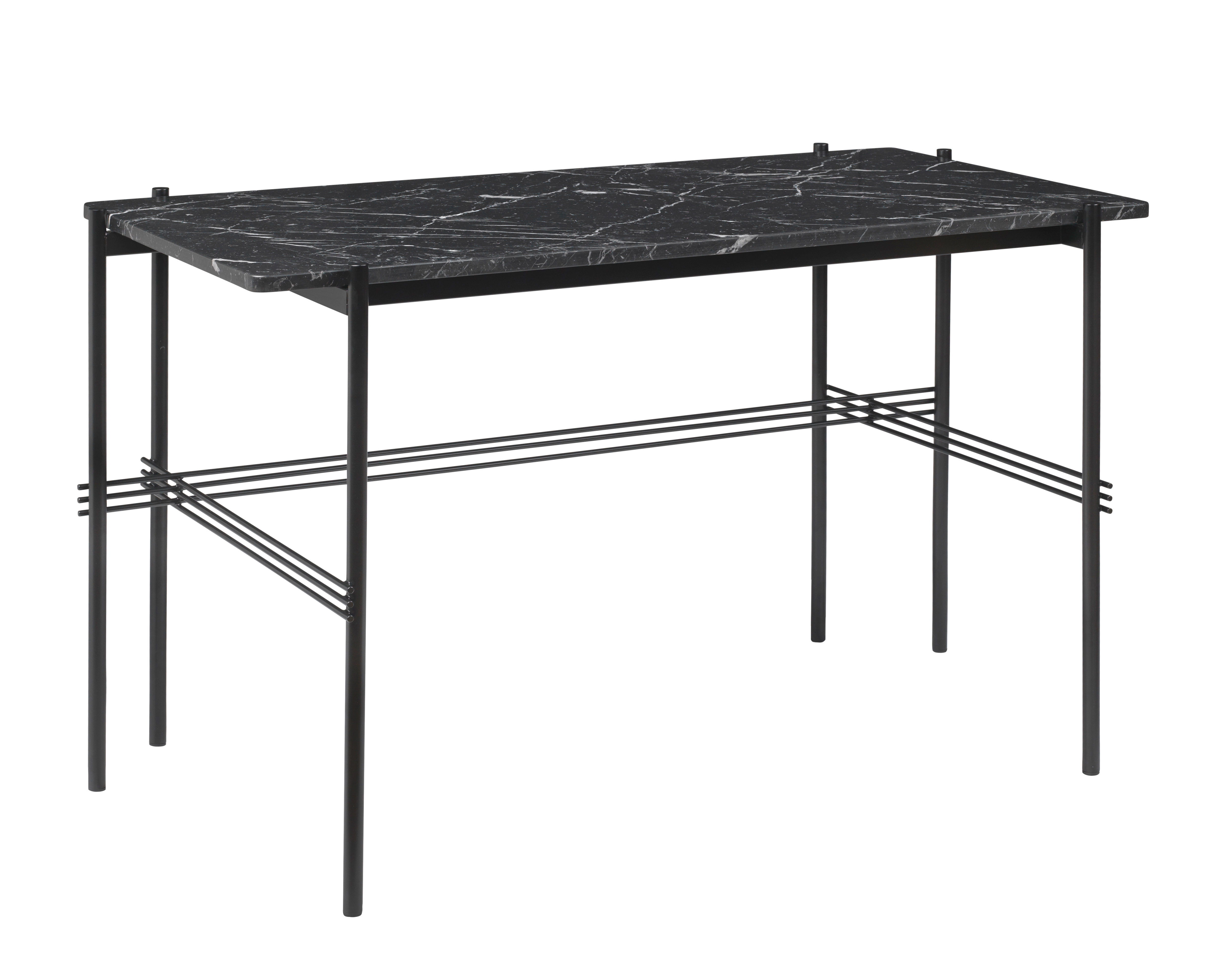 Furniture - Office Furniture - TS Desk - Marble/Gamfratesi - L 120 cm by Gubi - Black Marble/Black legs - Lacquered metal, Marquina marble