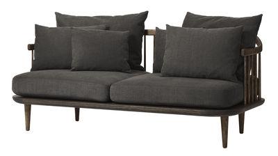 Arredamento - Divani moderni - Divano destro FLY - / 2 posti - L 162 cm di &tradition - Legno scuro / Cuscini grigio scuro -  Plumes, Espanso, Rovere oliato, Tessuto