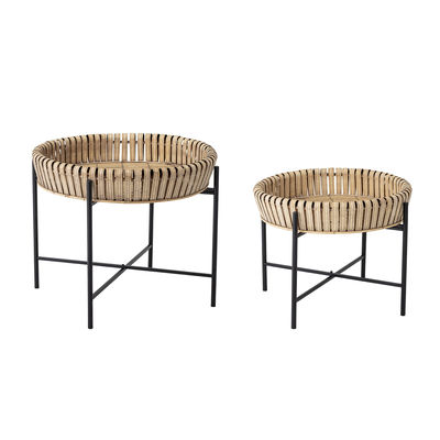 Furniture - Coffee Tables - Nature End table - / Set of 2 - Ø50 x H40 / Ø 61 x H 52 cm by Bloomingville - Bamboo / Black - Bamboo MDF, Painted iron