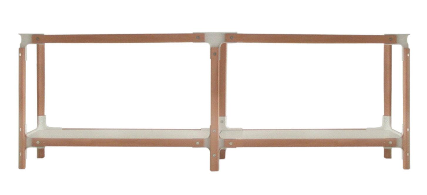 Mobilier - Etagères & bibliothèques - Etagère Steelwood / H 54 cm - Magis - Blanc / hêtre - L 181 cm - Acier verni, Hêtre, MDF verni