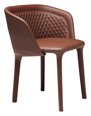Mobilier - Chaises, fauteuils de salle à manger - Fauteuil rembourré Lepel / Similicuir matelassé - Casamania - Similicuir marron noisette - Métal, Mousse polyuréthane, Similicuir